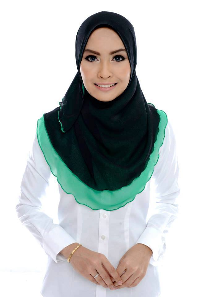 ADC III 001 Black+Royal Green SHAWL ADREENA TUDUNG SHAWL HALFMOON DOUBLE LAYER YANG LABUH