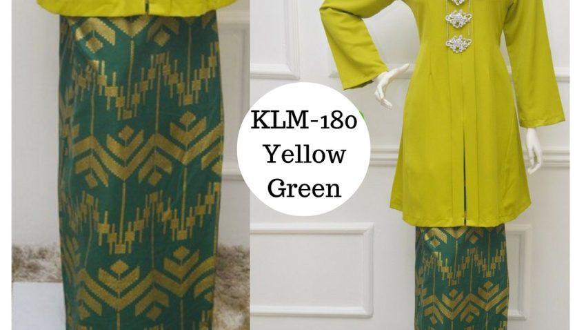 Baju-kebarung-songket-labuh-hijau-kuning-KLM-180