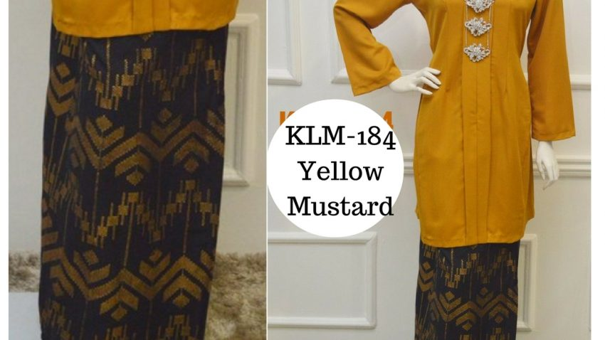 Baju-kebarung-songket-labuh-kuning-mustard-KLM-184