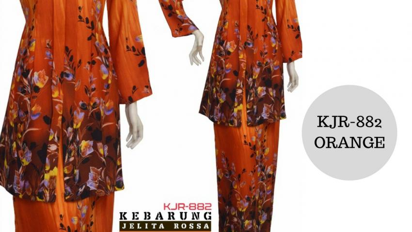 baju-kebarung-kebarong-bunga-terkini-2017-kjr-882-oren-orange