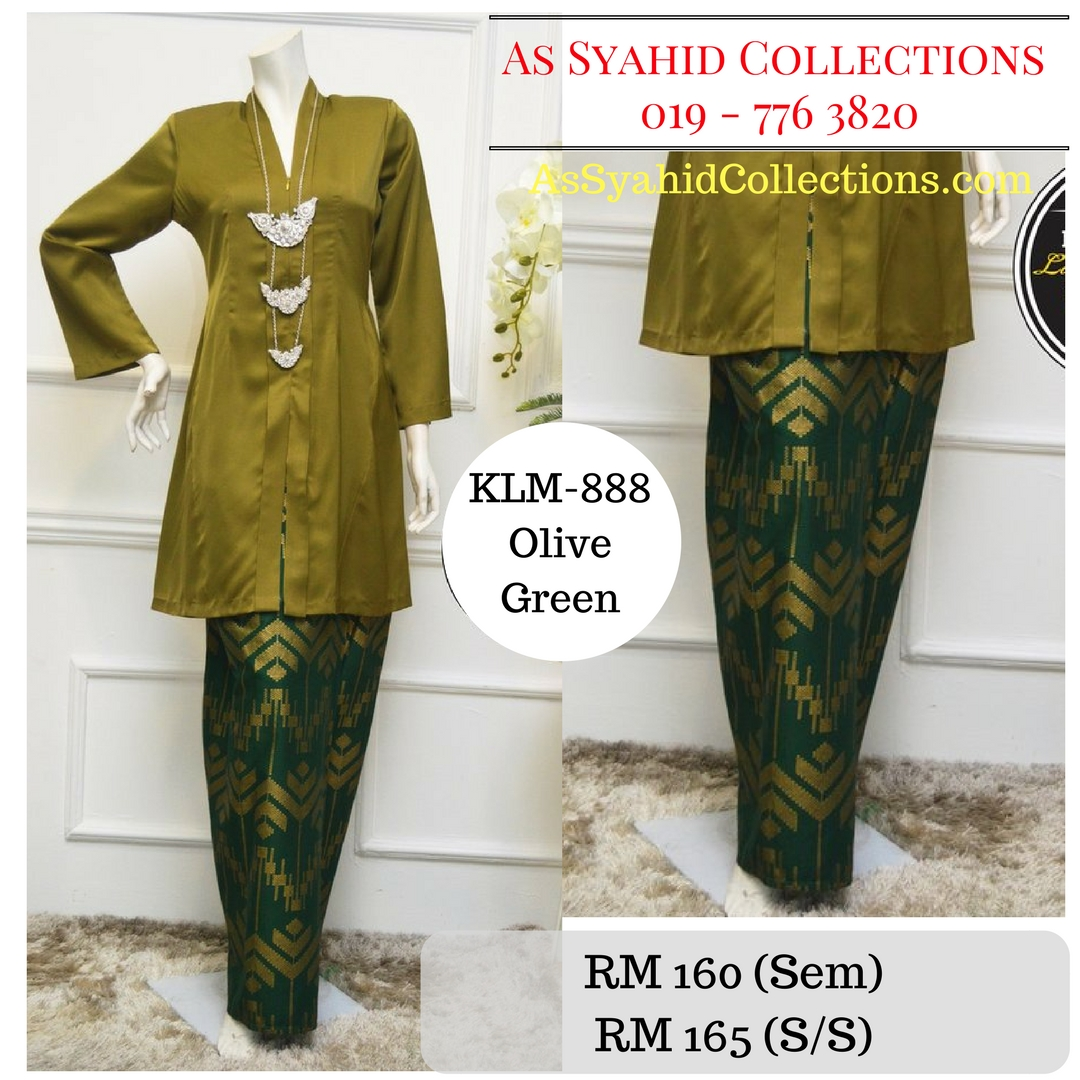 baju-kebarung-songket-kebarong-terkini-hijau-olive-green-klm-888