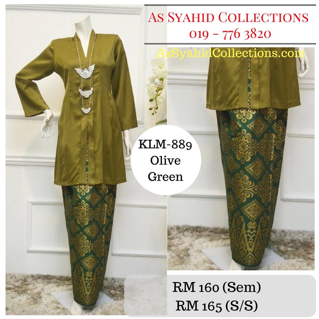 baju-kebarung-songket-kebarong-terkini-hijau-olive-green-klm-889