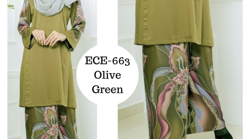 baju-kurung-batik-terkini-online-hijau-lumut-olive-green-ECE-663