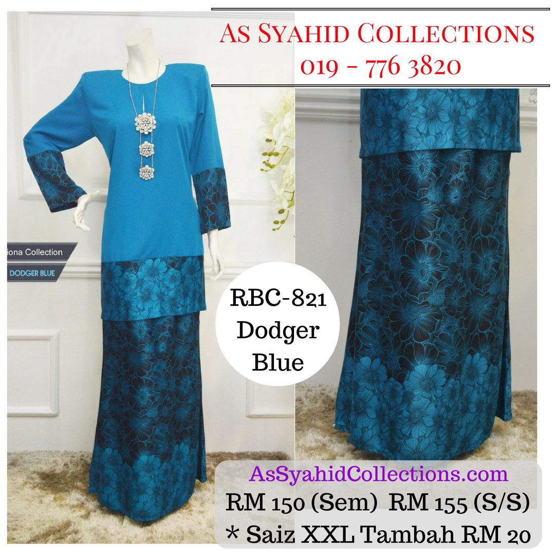 baju kurung moden labuh malaysia terkini 2017 online dodger blue biru RBC-821