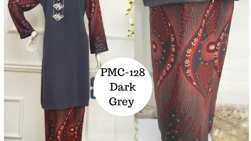baju-kurung-moden-malaysia-terkini-dark-grey-kelabu-gelap-PMC-128