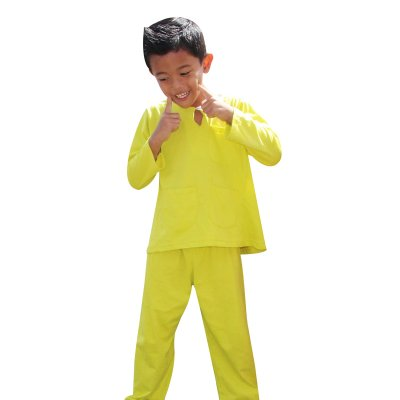 baju melayu budak lelaki plain kuning 06