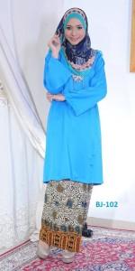 bj102 baju kurung pahang kain batik lipat biru blue