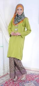 bj104 baju kurung pahang kain batik lipat hijau