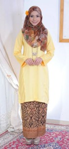 bj105 baju kurung pahang kain batik lipat kuning yellow