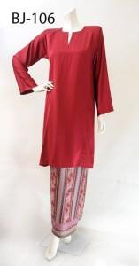 bj106 baju kurung pahang kain batik lipat merah red