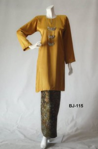 bj115 baju kurung pahang kain batik lipat yellow gold kuning emas