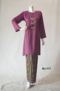 bj117 baju kurung pahang kain batik lipat purple ungu