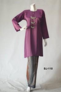 bj118 baju kurung pahang kain batik lipat purple ungu manggis