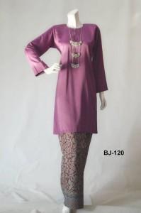 bj120 baju kurung pahang kain batik lipat purple ungu manggis