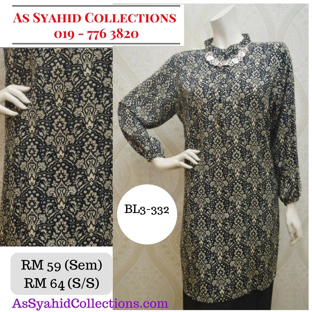 blouse muslimah labuh hitam krim bl3-332