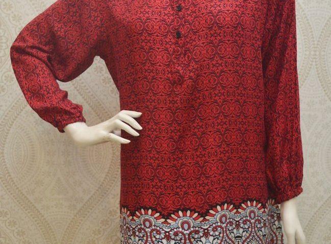 blouse muslimah labuh merah hitam-bl3-331