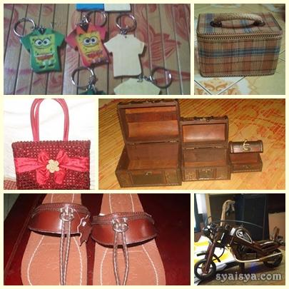 capal kulit, bag manik, beg rotan, replika motor kayu untuk dijual