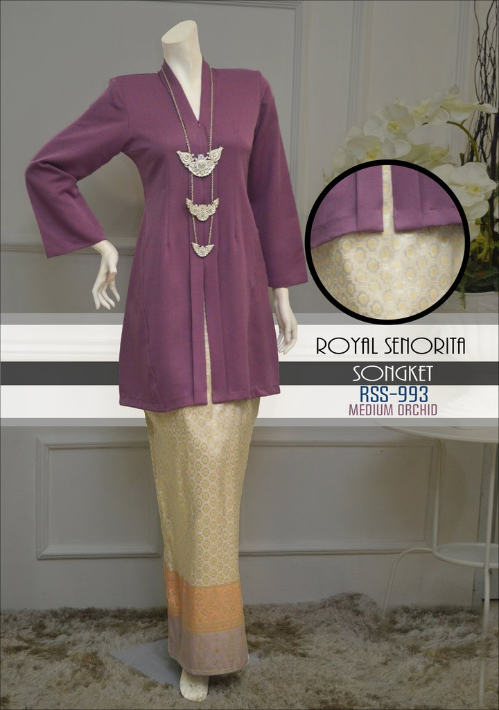 kebarung songket labuh medium orked purple ungu RSS-993