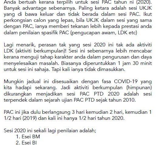pac ptd 2020 apa yang diuiji