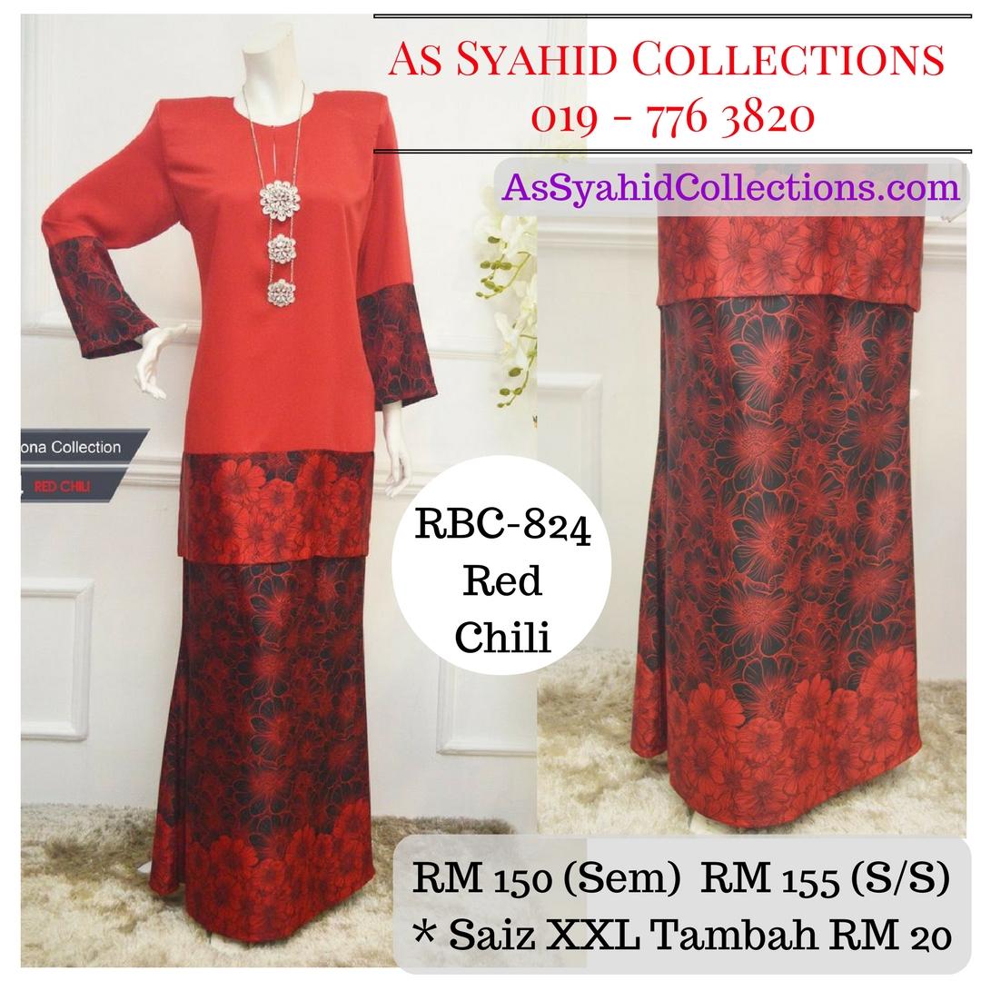 baju kurung moden labuh malaysia terkini 2017 online red chili merah cili RBC-824
