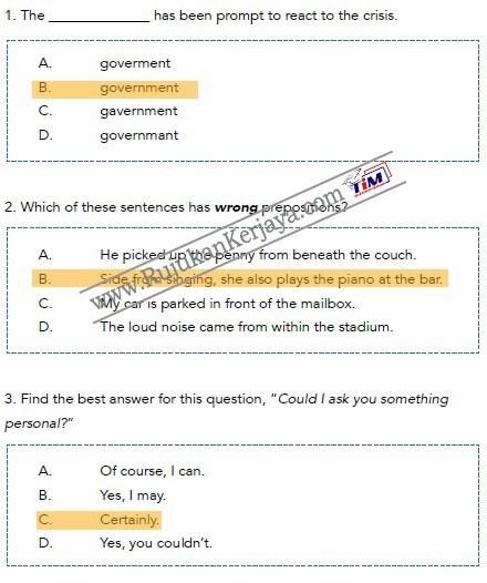 contoh soalan bahasa inggeris Pembantu Syariah LS19 Negeri Perak 1