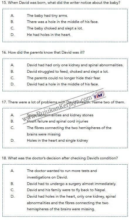 contoh soalan bahasa inggeris Pembantu Syariah LS19 Negeri Perak 2