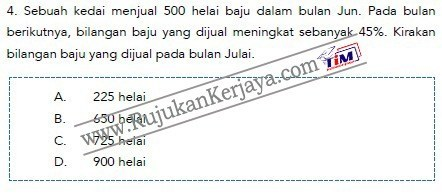 contoh soalan matematik Pembantu Syariah LS19 Negeri Perak 1